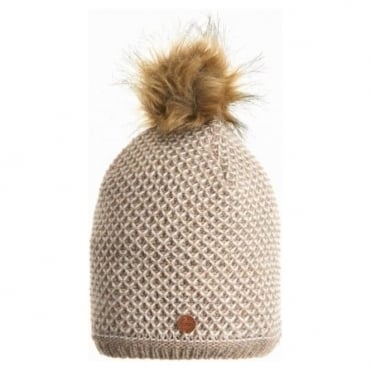 Knitted Hat With Eco Fur Pom - Cream