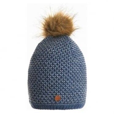 Knitted Hat With Eco Fur Pom - Blue Navy