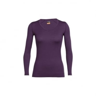 Icebreaker Women's Oasis Long Sleeve Vee Neck Eggplant