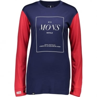Mons Royale Boyfriend Women's LS Stack - Navy/Raspberry