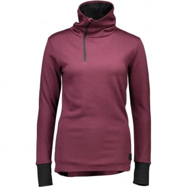 Mons Royale Harlow Women's 1/4 Zip - Burgundy/Black Birdseye