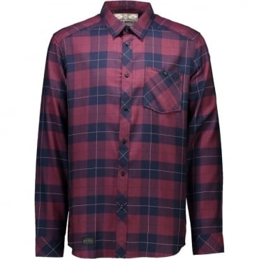 Mons Royale Jackson Flannel Shirt - Navy/Burgundy