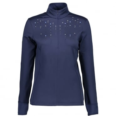 Campagnolo Womens 1/4 Zip Micro Fleece Raindrops Mid Layer - Navy Blue